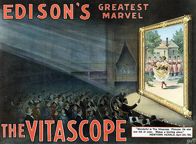 Vitascope, An Early Motion Picture Art Print by Everett