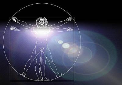 Vitruvian Man With Flare In Chest Art Print by Laguna Design