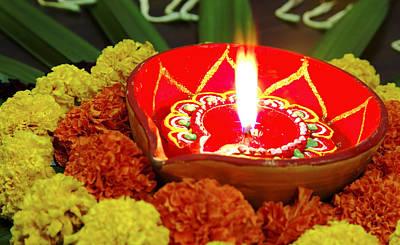 Vivid Diwali Marigolds Diva Art Print by Kantilal Patel