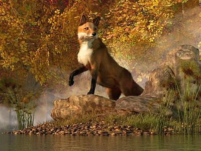Vulpes Digital Art - Vixen By The River by Daniel Eskridge