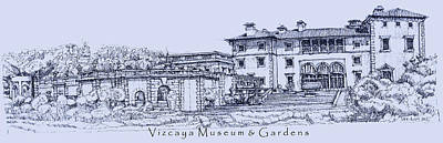 Vizcaya Museum And Gardens In Blue  Art Print by Building  Art