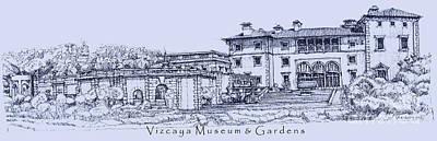 Ink Drawing Drawing - Vizcaya Museum In Blue by Adendorff Design