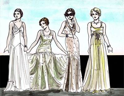 Evening Gown Drawing - Vogue Ladies by Mel Thompson