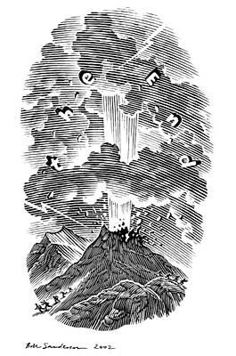 Volcanic Eruption, Artwork Art Print by Bill Sanderson