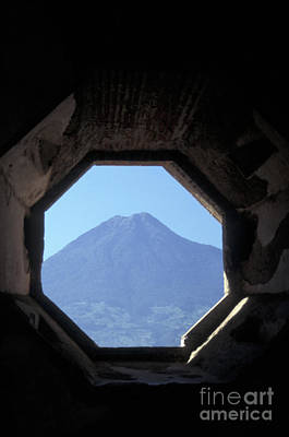 Photograph - Volcano Framed By Octagonal Window by John  Mitchell