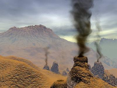 Venus Surface Photograph - Volcanoes On Venus, Artwork by Walter Myers
