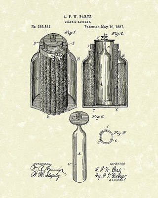 Voltaic Battery 1887 Patent Art Art Print by Prior Art Design