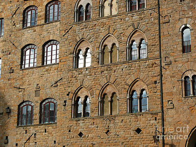 Art Print featuring the photograph Volterra Wall Of Windows by Jeanne  Woods