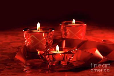 Merry -go- Round Photograph - Votive Candles On Dark Red Background by Sandra Cunningham