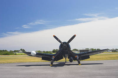 Vought F4u Corsair Fighter Plane On Runway Canvas Photo Poster Print Art Print
