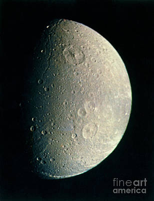 Photograph - Voyager 1 Image Of Saturns Moon Dione by NASA / Science Source
