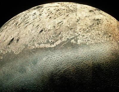 Voyager 2 Photomosaic Of Neptune's Moon Triton Art Print by Nasa