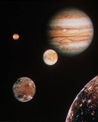 Voyager Mosaic Of Jupiter & Its 4 Galilean Moons Print by Nasa