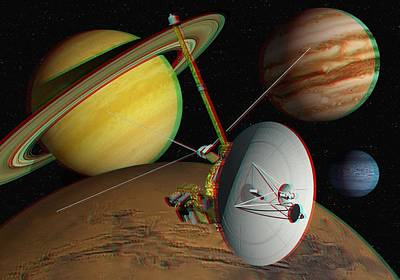 Voyager Spacecraft, Stereo Image Art Print by David Ducros