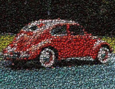 Bottle Caps Mixed Media - Vw Bug Bottle Cap Mosaic by Paul Van Scott