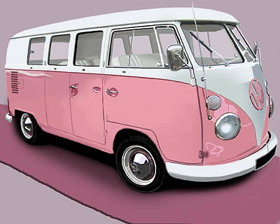 Digital Art - Vw Campervan Pink by Richard Herron