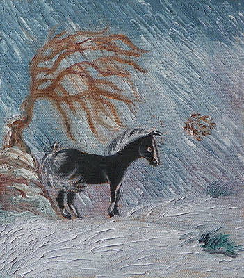 Painting - W Is For Wickery In The Winter Wind - Detail From Childhood Quilt Painting by Dawn Senior-Trask