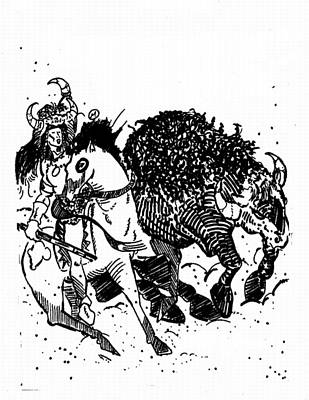 Thor Drawing - Wa Pay Skun  Otestcana by Kenny Moran