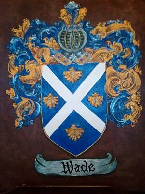 Wade Painting - Wade Coat Of Arms And Family Crest by Nancy Rutland