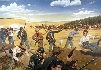 Wagon Box Fight, 1867 Art Print by Granger