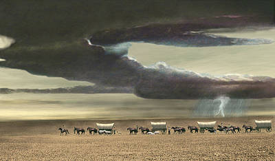 Digital Art - Wagon Train by Walter Colvin