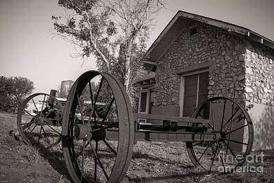 Photograph - Wagon Wheel At The Ranch by Sherry Davis