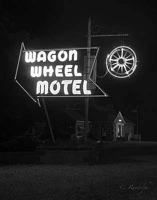 Photograph - Wagon Wheel Motel B.w. by Cheri Randolph