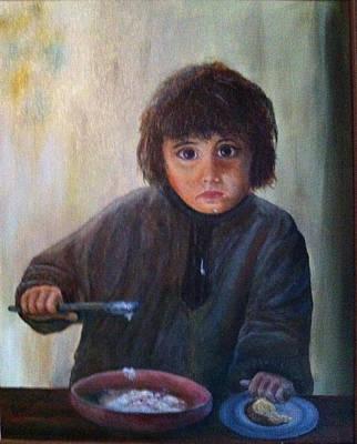 Porridge Bowl Painting - Waif by Leonard Franckowiak