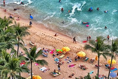 Print featuring the photograph Waikiki Beach Aerial 1 by Jim Albritton