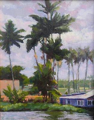 Hilo Town Painting - Wailoa River View by Robert Weiss