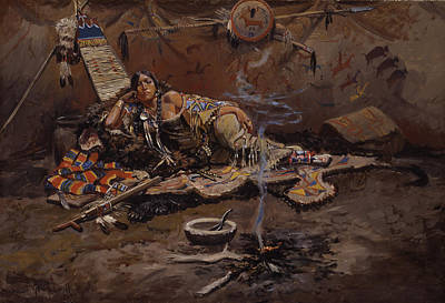 Tipi Painting - Waiting And Mad by Charles Marion Russell