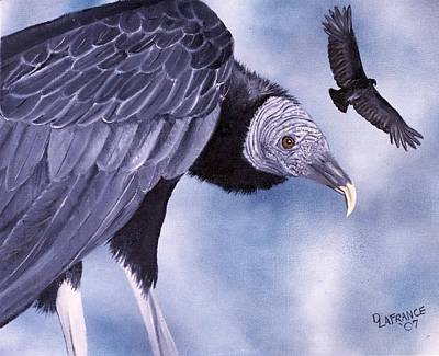 Buzzard Painting - Waiting by Debbie LaFrance