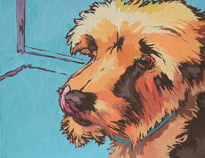 Lick Painting - Waiting For A Treat by Sandy Tracey