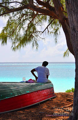 Waiting For Her Ship To Come In Print by Li Newton