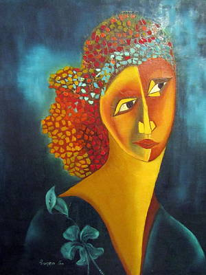 Painting - Waiting For Partner Orange Woman Blue Cubist Face Torso Tinted Hair Bold Eyes Neck Flower On Dress by Rachel Hershkovitz