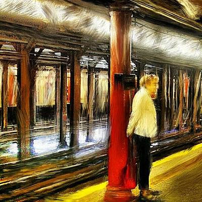 Brush Wall Art - Photograph - #waiting For The #1 #train.  #newyork by Antonio DeFeo