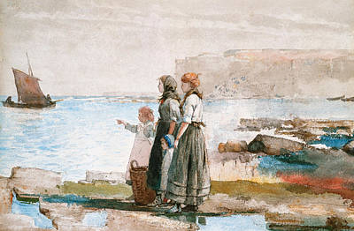 Waiting For The Return Of The Fishing Fleets Art Print by Winslow Homer