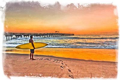 Waiting For Waves Art Print by Debra and Dave Vanderlaan