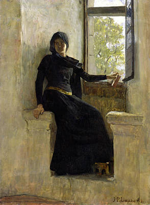 Open Windows Painting - Waiting by Jean Pierre Laurens