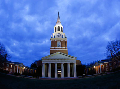Photograph - Wake Forest Wait Chapel Lit Up by Wake Forest University