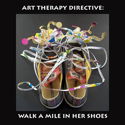 Fireworks Art Mixed Media - Walk A Mile In Her Shoes by Anne Cameron Cutri