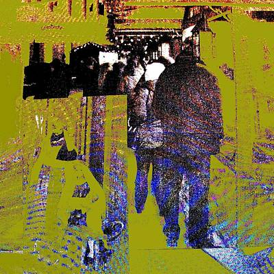 Wall Art - Mixed Media - Walker In The City by Lee Eggstein