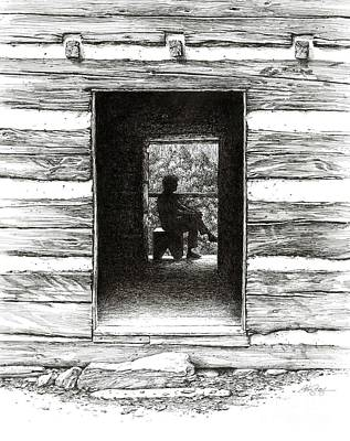 Art Print featuring the drawing Walker Sisters' Cabin Door by Bob  George