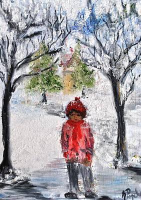 Walking Alone Art Print by Evelina Popilian