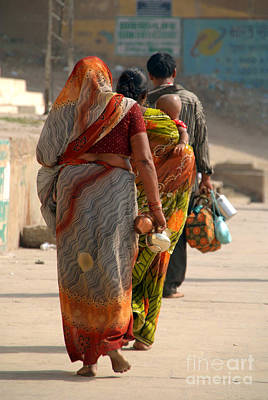Cremation Ghat Photograph - Walking Along The Ghats by Serena Bowles