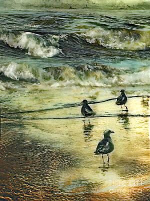 Walking At Beach Art Print by Anne Weirich