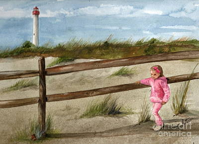 Painting - Walking At Cape May Light by Nancy Patterson