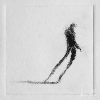 Etching Mixed Media - Walking I by Valdas Misevicius
