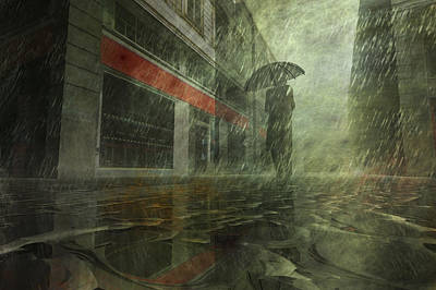 Rain Digital Art - Walking In The Rain by Carol and Mike Werner