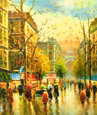 Painting - Walking In The Rain by Georgiana Romanovna
